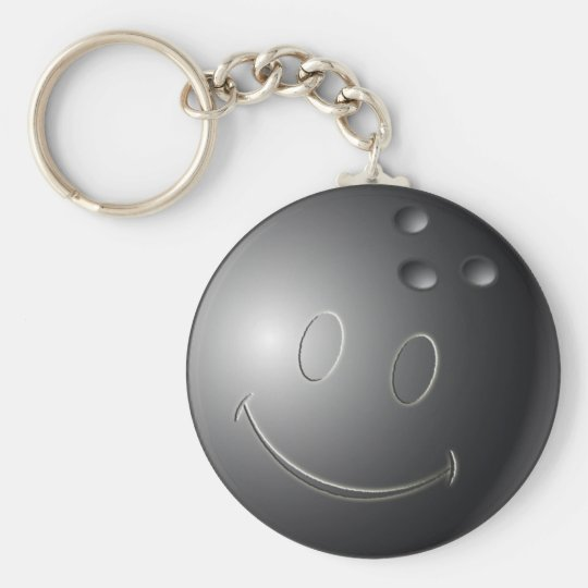 SMILEY FACE BOWLING BALL KEYCHAIN