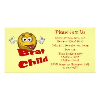 Smiley Face Brat Child Cute Invitation Photo Card