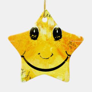 smiley face ceramic ornament