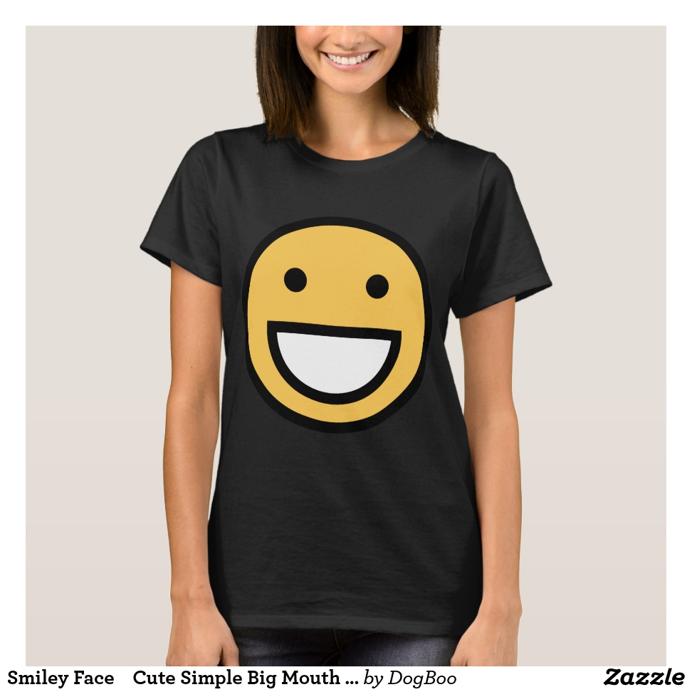 Smiley Face    Cute Simple Big Mouth Smiling T-Shirt - Best Selling Long-Sleeve Street Fashion Shirt Designs