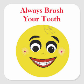 Smiley Face Dental Message Square Sticker