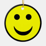 Smiley face Double-Sided ceramic round christmas ornament