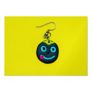 Smiley face earring 5x7 paper invitation card