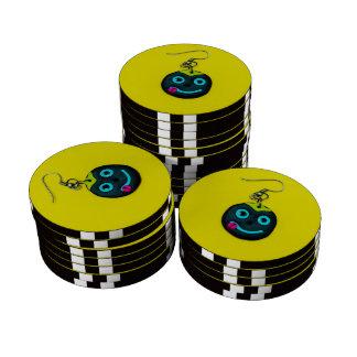 Smiley face earring set of poker chips