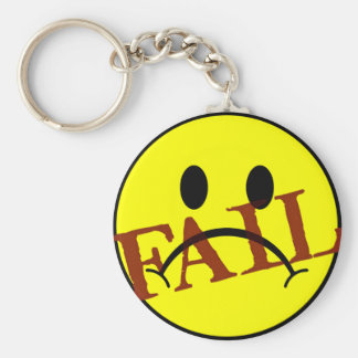 Smiley Face FAIL Basic Round Button Keychain