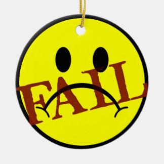 Smiley Face FAIL Ceramic Ornament