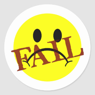 Smiley Face FAIL Classic Round Sticker