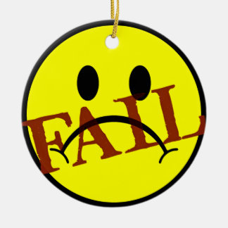 Smiley Face FAIL Double-Sided Ceramic Round Christmas Ornament