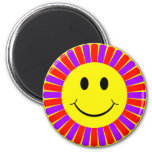 Smiley Face Flower 2 Inch Round Magnet