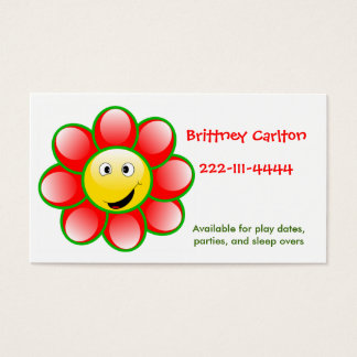 Smiley face flower calling card