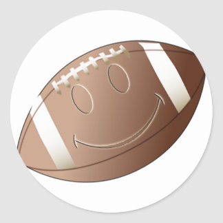 SMILEY FACE FOOTBALL CLASSIC ROUND STICKER