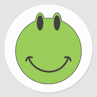 Smiley Face Frog Classic Round Sticker