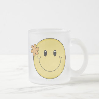 Smiley Face Frosted Glass Coffee Mug