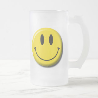 Smiley Face Frosted Glass Mug