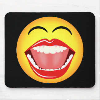 Smiley Face Fun Funny Yellow Mousepad Mousemat