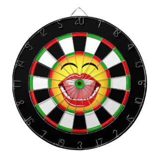 Smiley Face Funny Dartboard Green Red Black Yellow
