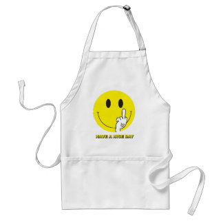 smiley face giving the finger adult apron