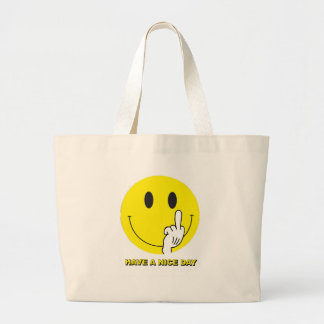 smiley face giving the finger tote bag