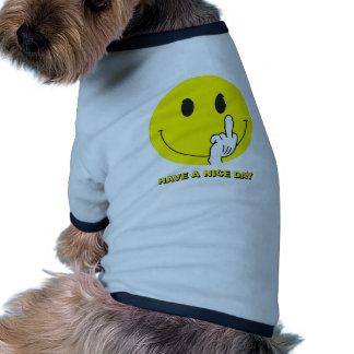 smiley face giving the finger doggie tee
