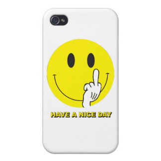 smiley face giving the finger iPhone 4 covers