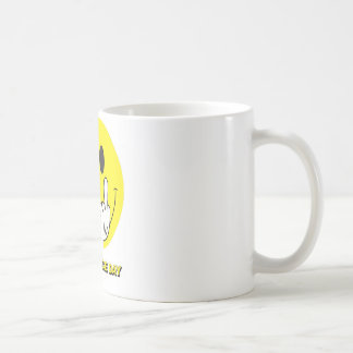 smiley face giving the finger classic white coffee mug