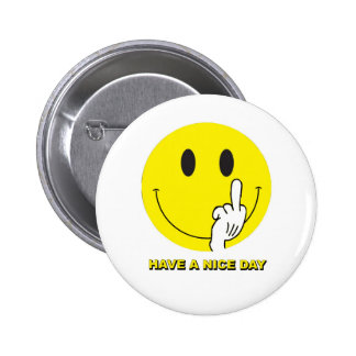 smiley face giving the finger pinback button