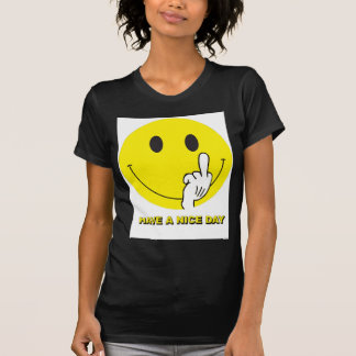 smiley face giving the finger tee shirts