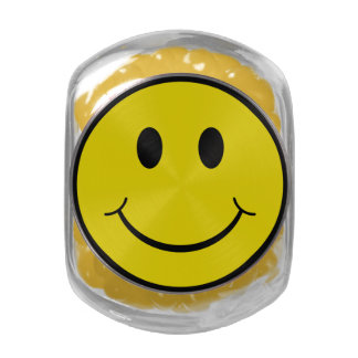 Smiley Face Glass Candy Jars