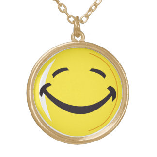 smiley face gold plated necklace