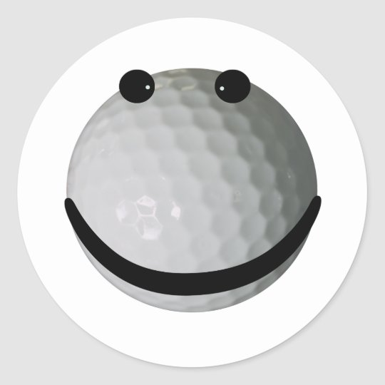 Smiley face golf ball classic round sticker
