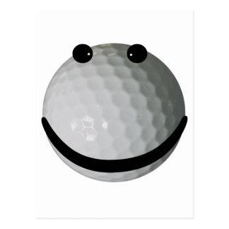 Smiley face golf ball postcard