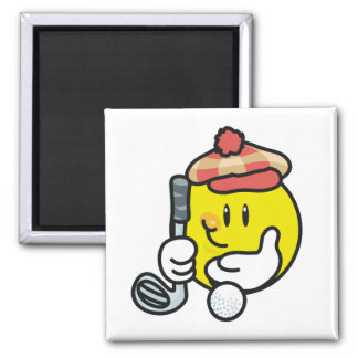 Smiley Face Golf T-shirts and Gifts 2 Inch Square Magnet