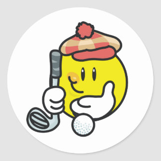 Smiley Face Golf T-shirts and Gifts Classic Round Sticker