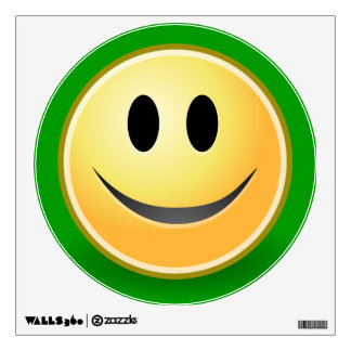 Smiley Face Green Wall Decal