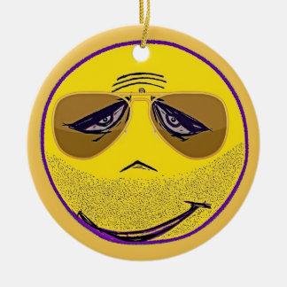 Smiley Face Guru Cool Round Ceramic Decoration