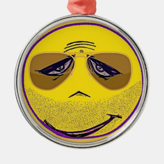 Smiley Face Guru Cool Silver-Colored Round Decoration