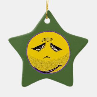 Smiley Face Guru Ceramic Star Decoration