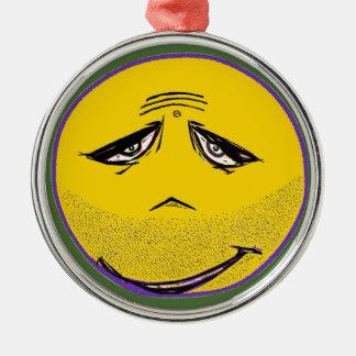 Smiley Face Guru Silver-Colored Round Decoration