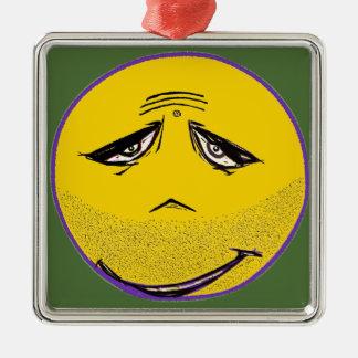 Smiley Face Guru Silver-Colored Square Decoration