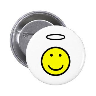 Smiley Face Halo Pinback Button