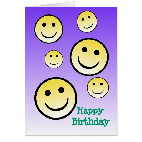 Smiley Face Happy Birthday Card
