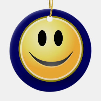 Smiley Face Happy New Year Ornament (Blue)