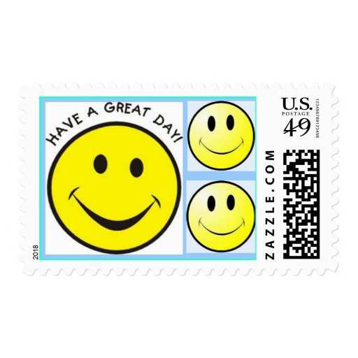 smiley face have a great day postage stamps | Zazzle