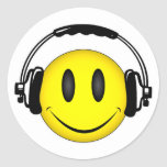 Smiley Face Headphones Stickers