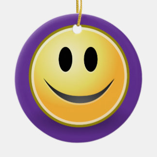 Smiley Face Holiday Ornament (Purple)