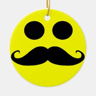 Smiley Face Mustache Ceramic Ornament
