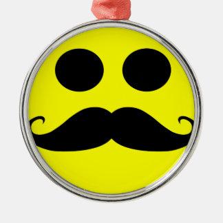 Smiley Face Mustache Metal Ornament