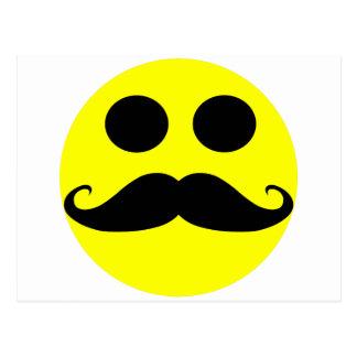 Smiley Face Mustache Postcard