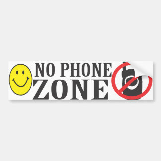 Smiley Face No Phone Zone Bumper Sticker