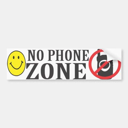 Smiley Face No Phone Zone Bumper Sticker